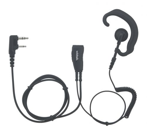 HCC-K | Hook Shaped Earpiece with Mic & PTT for Kenwood 2pin